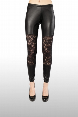 LEILA - ECO-LEATHER LEGGINS WITH BIG FRONT LACE EMBROIDERED INSERT